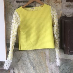 Tops - Neon Yellow Crop Top w/ White Lace Sleeves (XS-S)